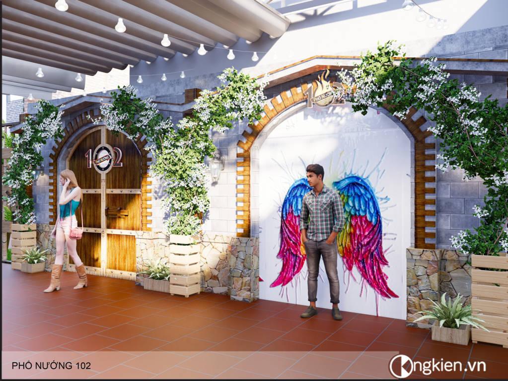 Thiết kế nhà hàng sân vườn Phố Nướng