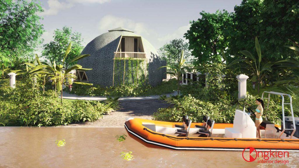 thiết kế ngoại thất dome house bungalow