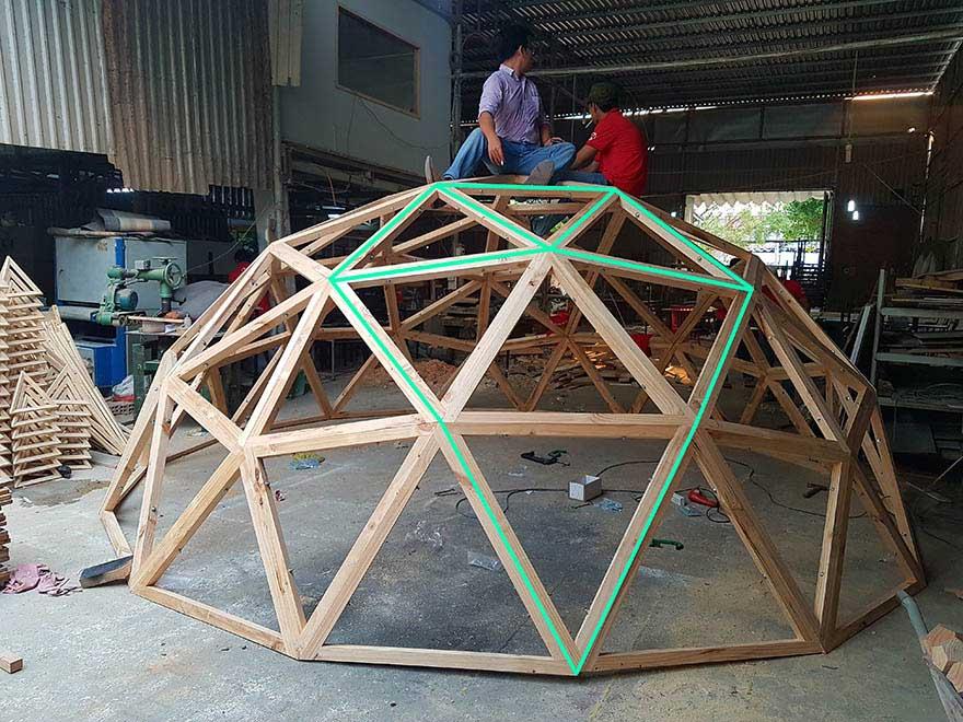Thi công bungalow dome Ông Kiến