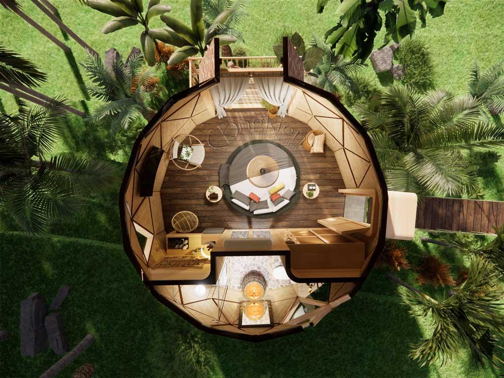 thiết kế tổng thể nội thất nhà gỗ mái vòm