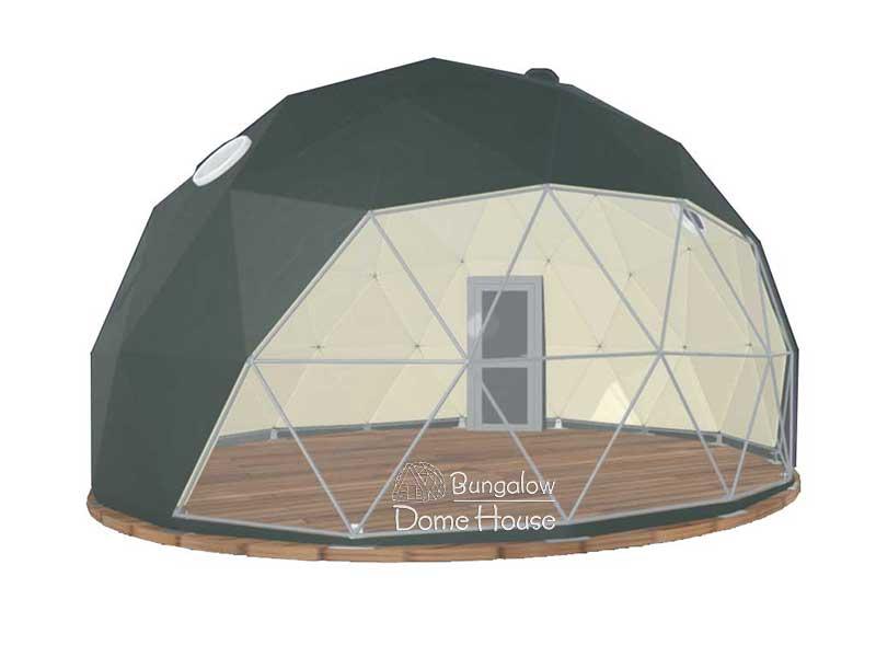 Dome House với phủ bạt màu xanh lá