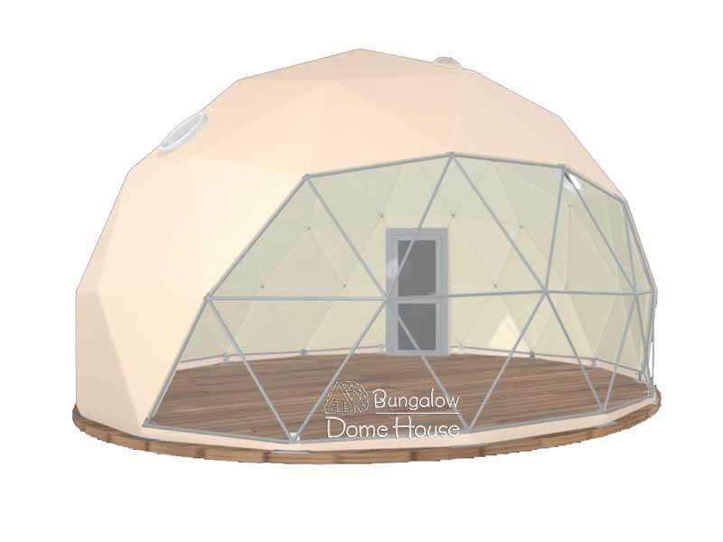 Dome House với phủ bạt màu vàng kem